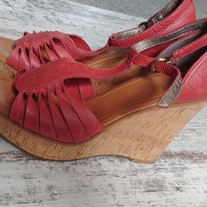 Banana Republic Pink Cork Wedge Heels